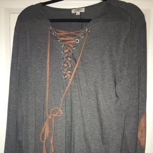 Gray and tan faux suede boutique top